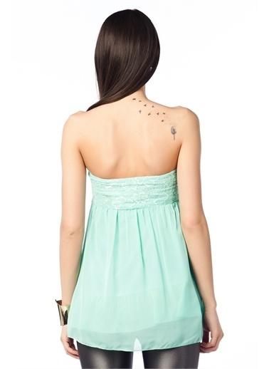 Cottonmood CMS4034 Straplez dantelli kısa bluz MNT Yeşil